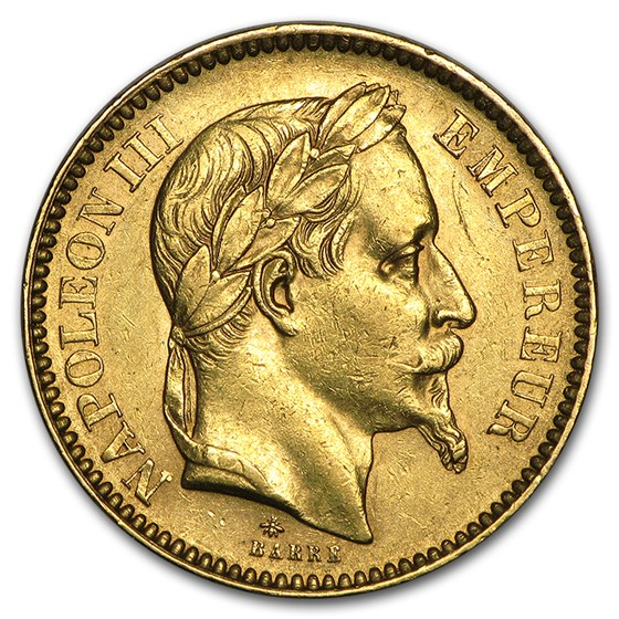 1861-1870 France Gold 20 Francs Napoleon III Laureate Avg Circ