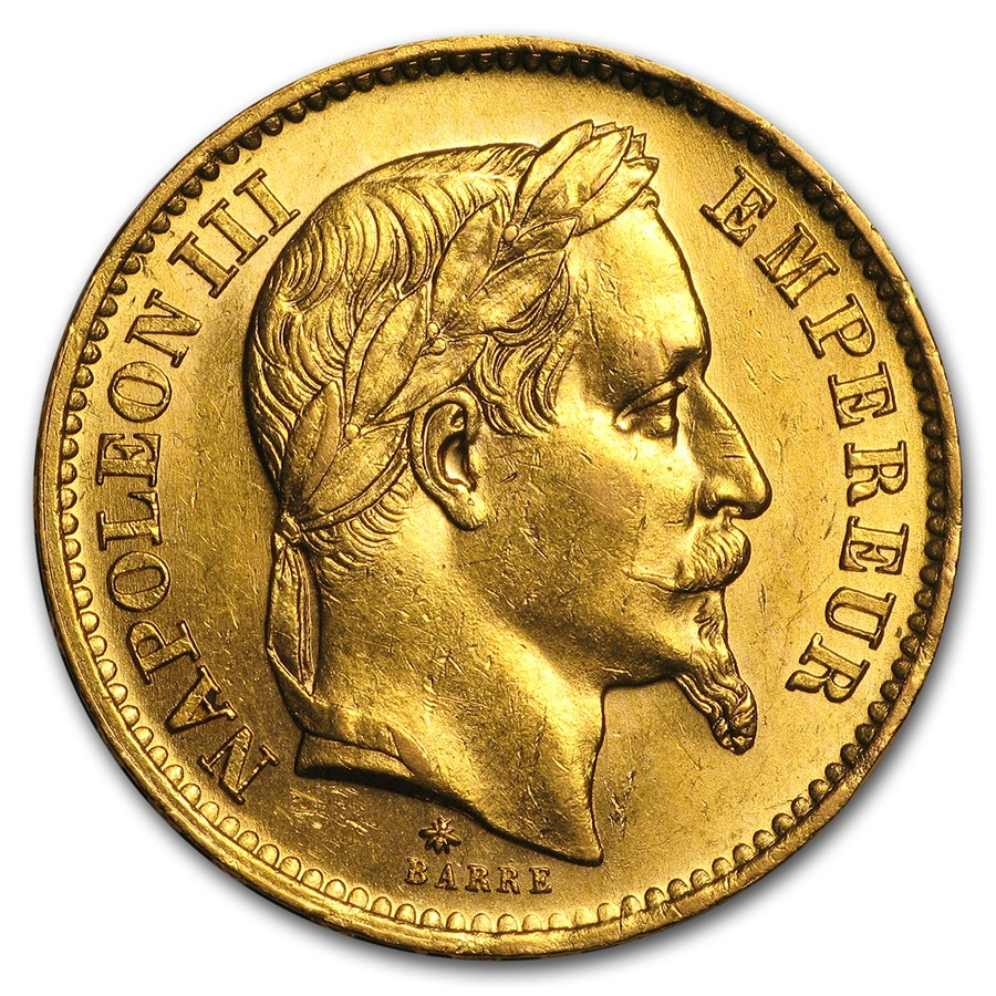 1861-1870 France Gold 20 Francs Napoleon III Laureate (BU)