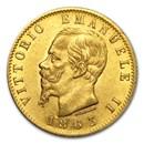 1861-1878 Italy Gold 20 Lire Vittorio Emanuele II AU