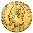 1861-1878 Italy Gold 20 Lire Vittorio Emanuele II Avg Circ