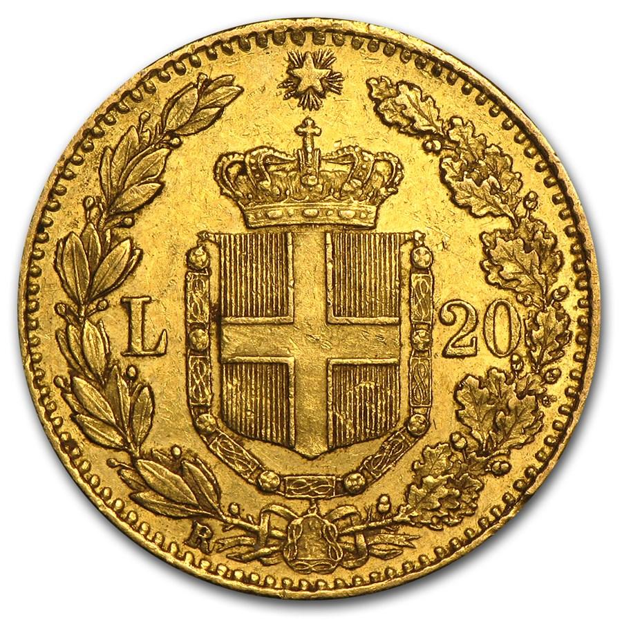 1861-1897 Italy Gold 20 Lire (Avg Circ)