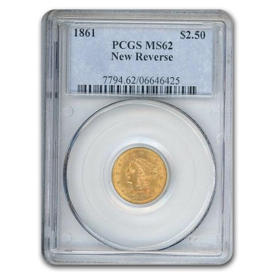 1861 $2.50 Liberty Gold Quarter Eagle MS-62 PCGS (New Reverse)