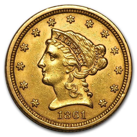 1861 $2.50 Liberty Gold Quarter Eagle Type 2 AU
