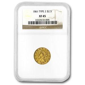 1861 $2.50 Liberty Gold Quarter Eagle Type 2 Rev EF-45 NGC