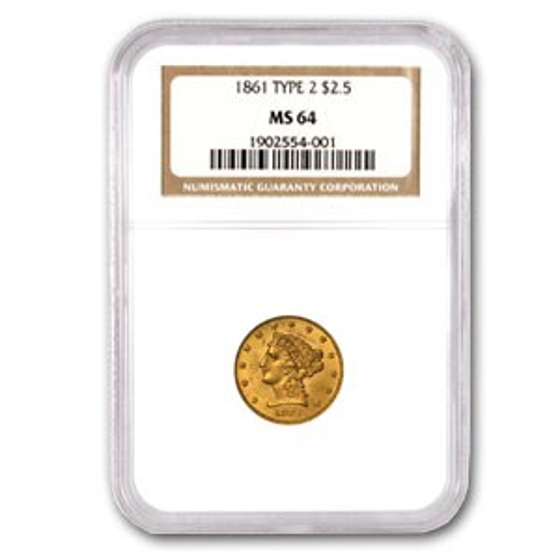 1861 $2.50 Liberty Gold Quarter Eagle Type 2 Rev MS-64 NGC