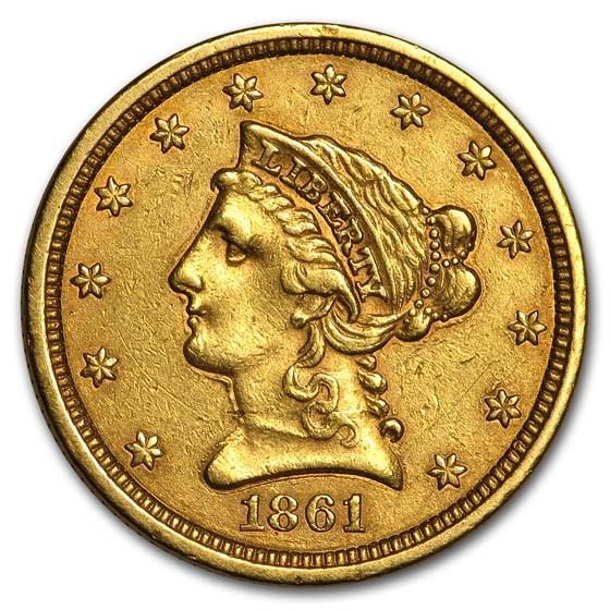 1861 $2.50 Liberty Gold Quarter Eagle Type 2 XF