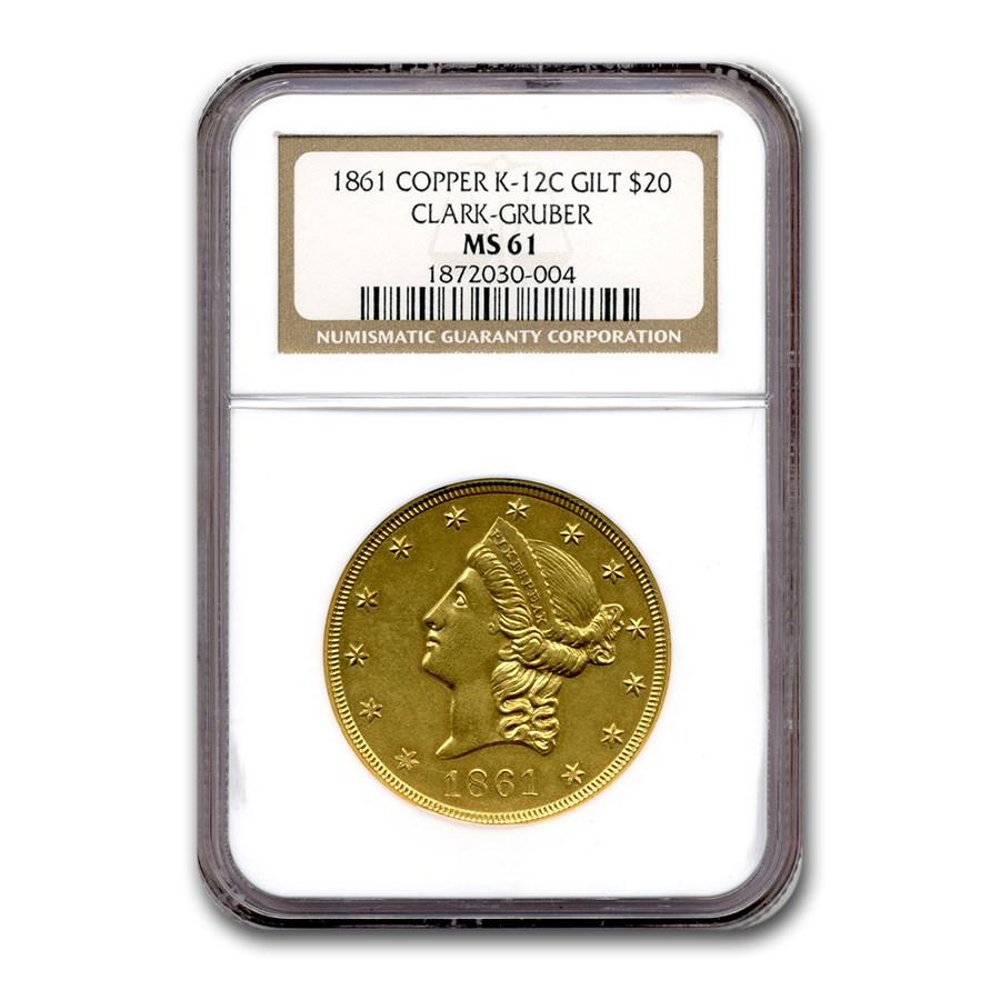 1861 $20 Clark Gruber & Co. Gilt Copper MS-61 NGC