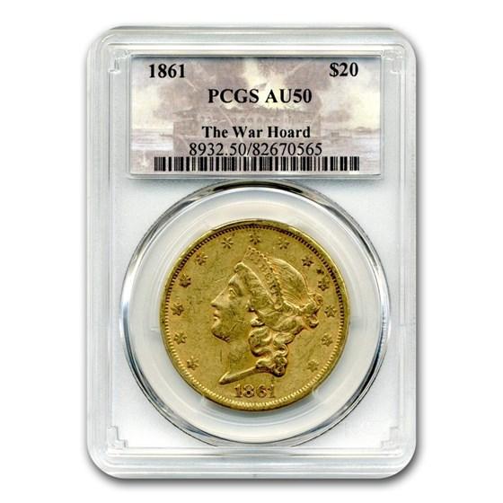 1861 $20 Liberty Gold Dbl Eagle AU-50 PCGS (First Yr War Hoard)