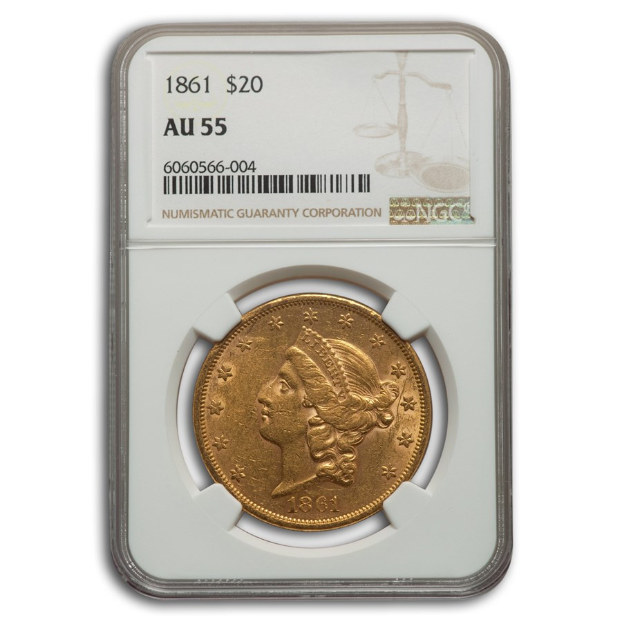 1861 $20 Liberty Gold Double Eagle AU-55 NGC