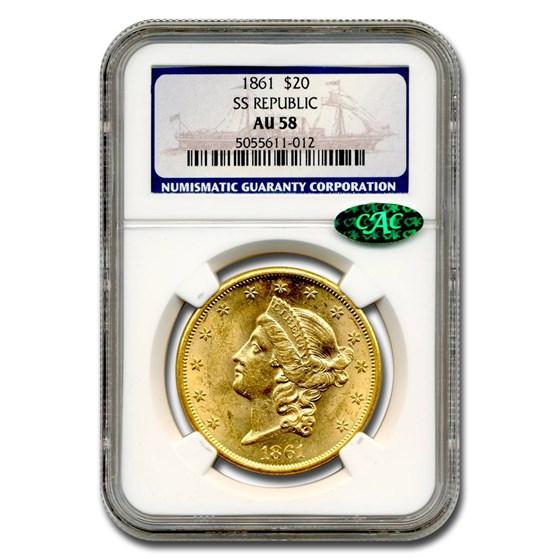 1861 $20 Liberty Gold Double Eagle AU-58 NGC CAC (SS Republic)