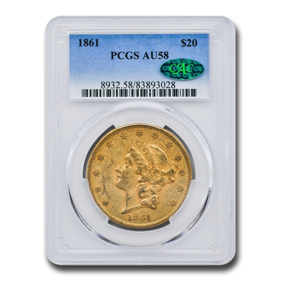 1861 $20 Liberty Gold Double Eagle AU-58 PCGS CAC