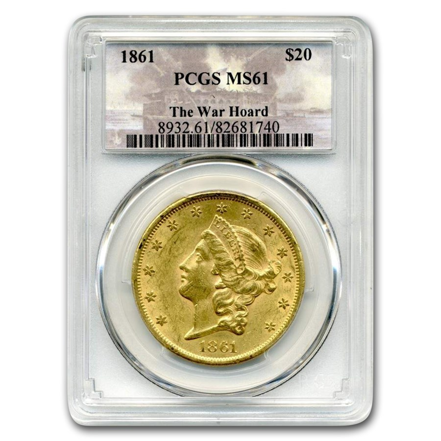 1861 $20 Liberty Gold Double Eagle MS-61 PCGS (War Hoard)