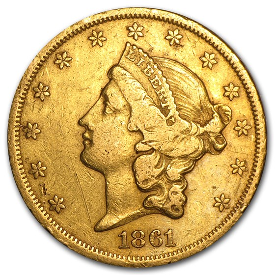 1861 $20 Liberty Gold Double Eagle VF Details (Cleaned)