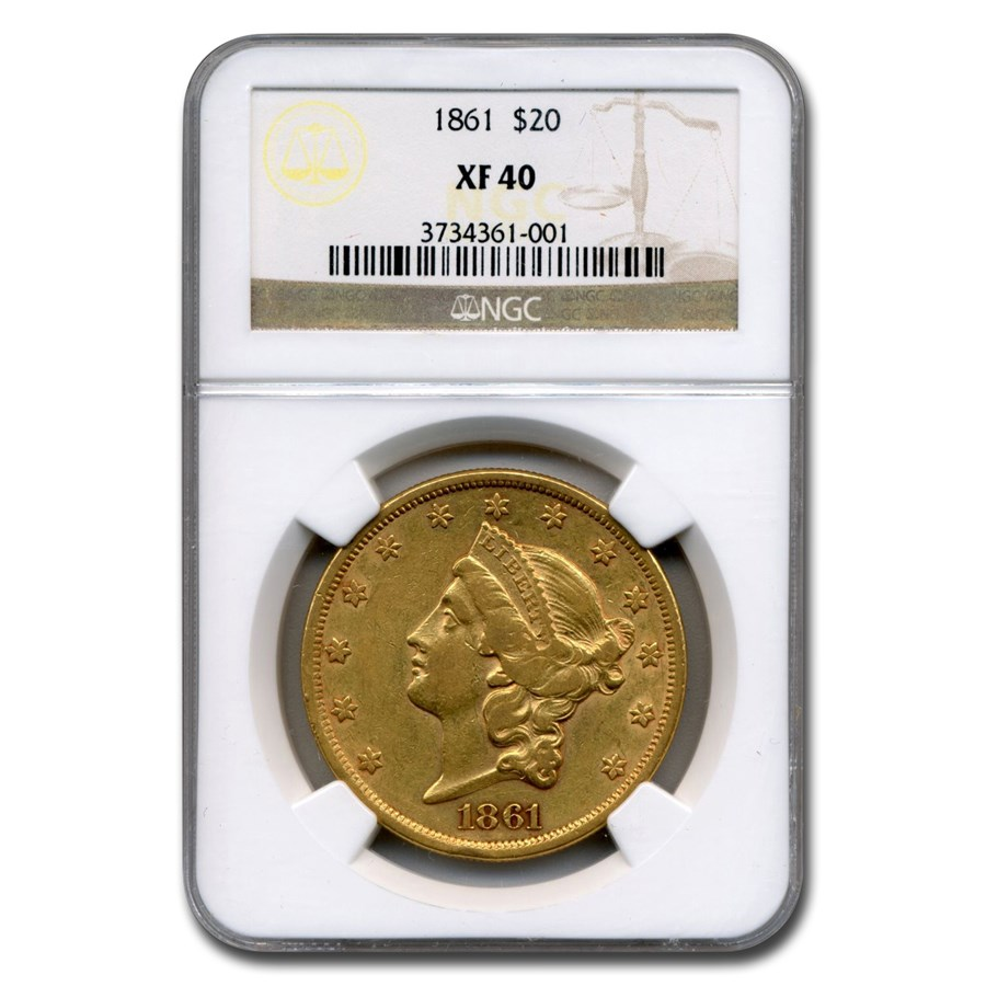 1861 $20 Liberty Gold Double Eagle XF-40 NGC