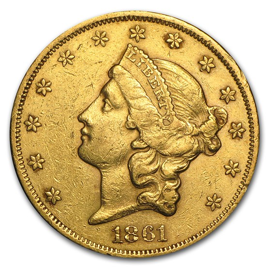 1861 $20 Liberty Gold Double Eagle XF