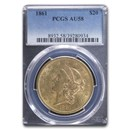 1861 $20 Liberty Gold Double Eagle AU-58 PCGS