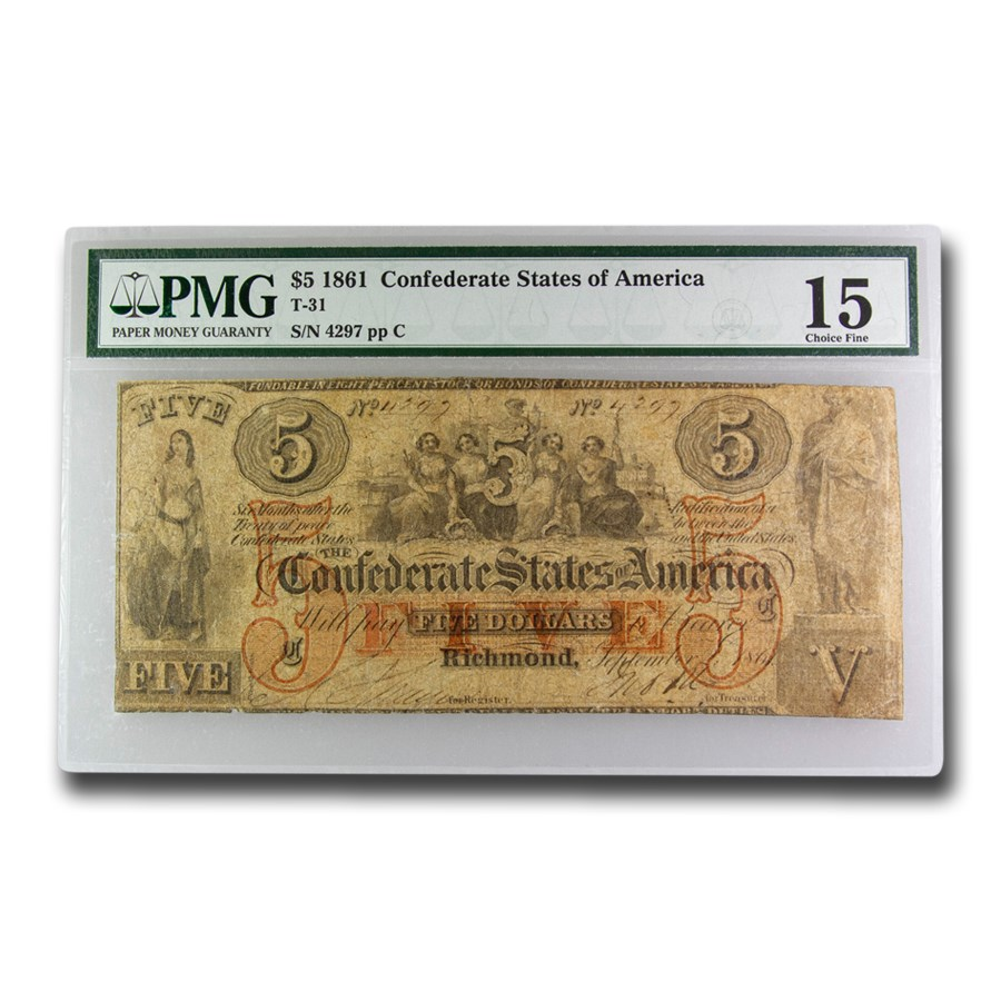 1861 $5.00 (T-31) Five Females Allegory Ch F-15 PMG