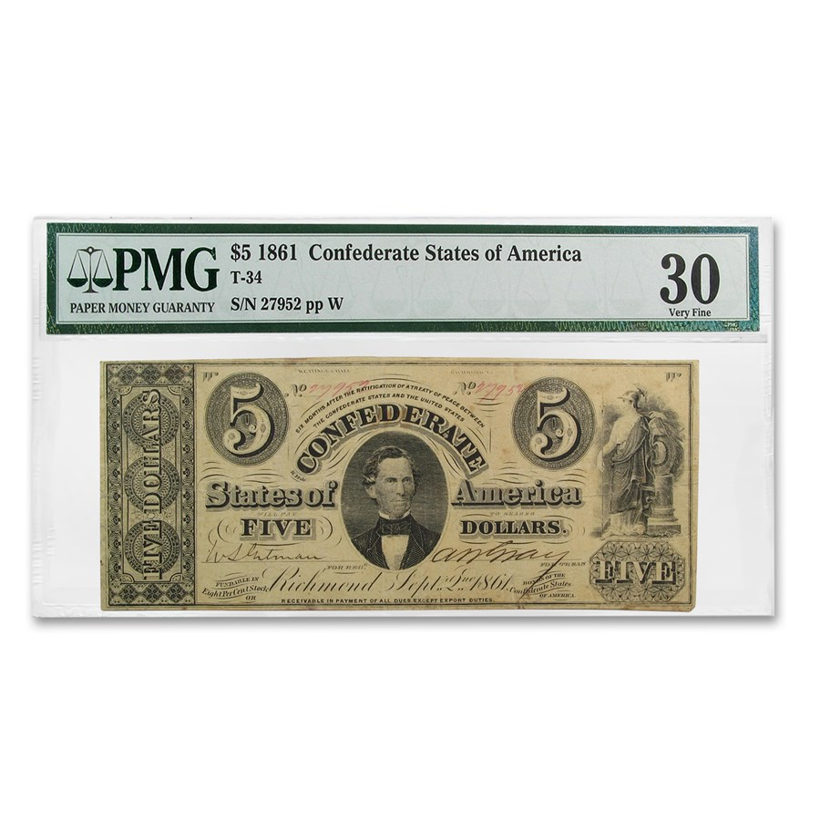 1861 $5.00 (T-34) C. G. Memminger VF-30 PMG