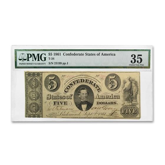 1861 $5.00 (T-34) C. G. Memminger VF-35 PMG