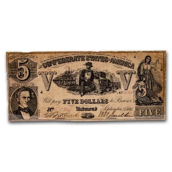 1861 $5.00 (T-37) Sailor on Cotton VG