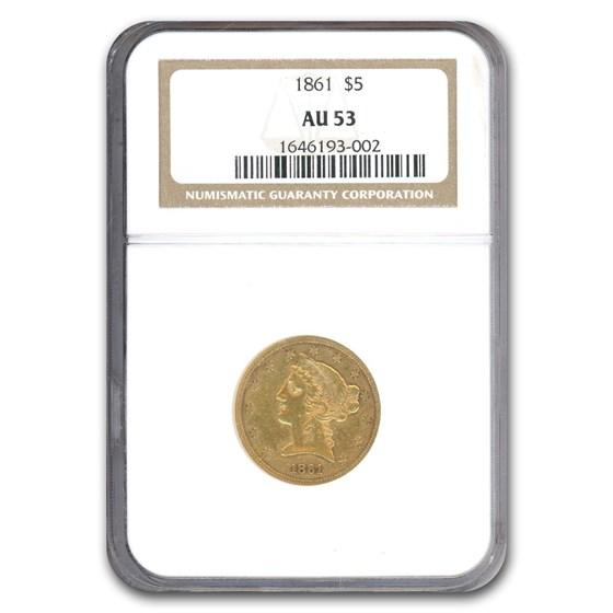 1861 $5 Liberty Gold Half Eagle AU-53 NGC