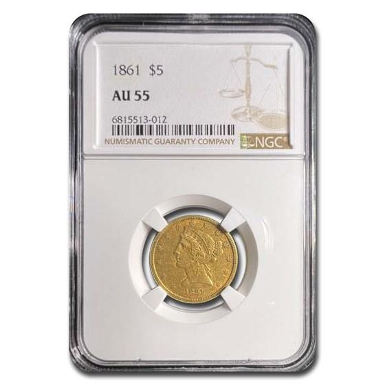 1861 $5 Liberty Gold Half Eagle AU-55 NGC