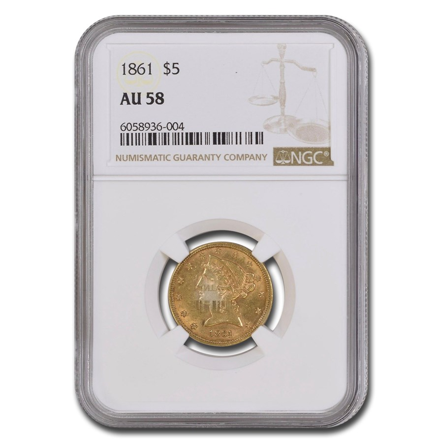 1861 $5 Liberty Gold Half Eagle AU-58 NGC