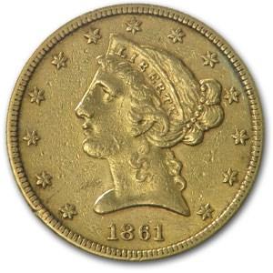 1861 $5 Liberty Gold Half Eagle AU
