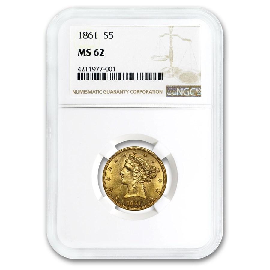 1861 $5 Liberty Gold Half Eagle MS-62 NGC