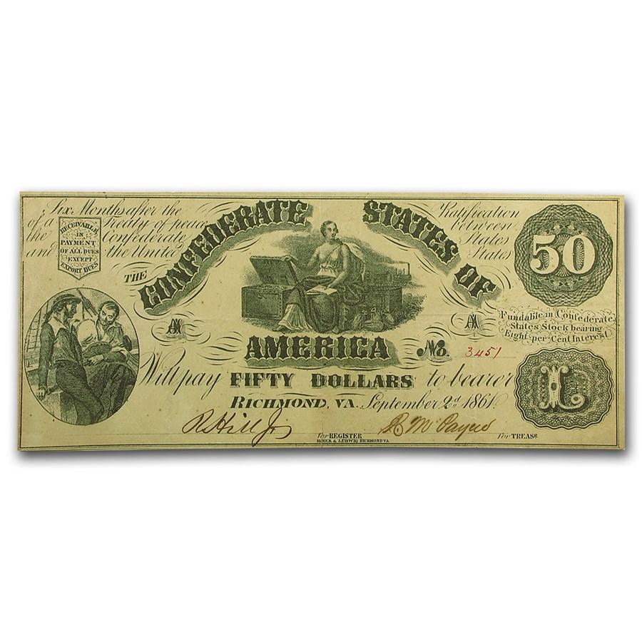 1861 $50.00 (T-14) Moneta & Chest XF