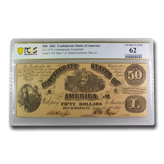 1861 $50 (CT-14/76) Moneta & Treasure Chests CU-62 PCGS CFT
