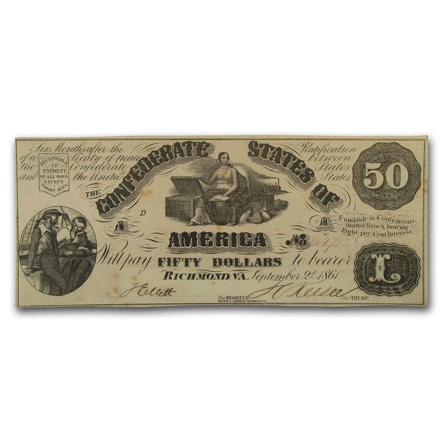 1861 $50 (T-14) Moneta & Treasure Chests AU