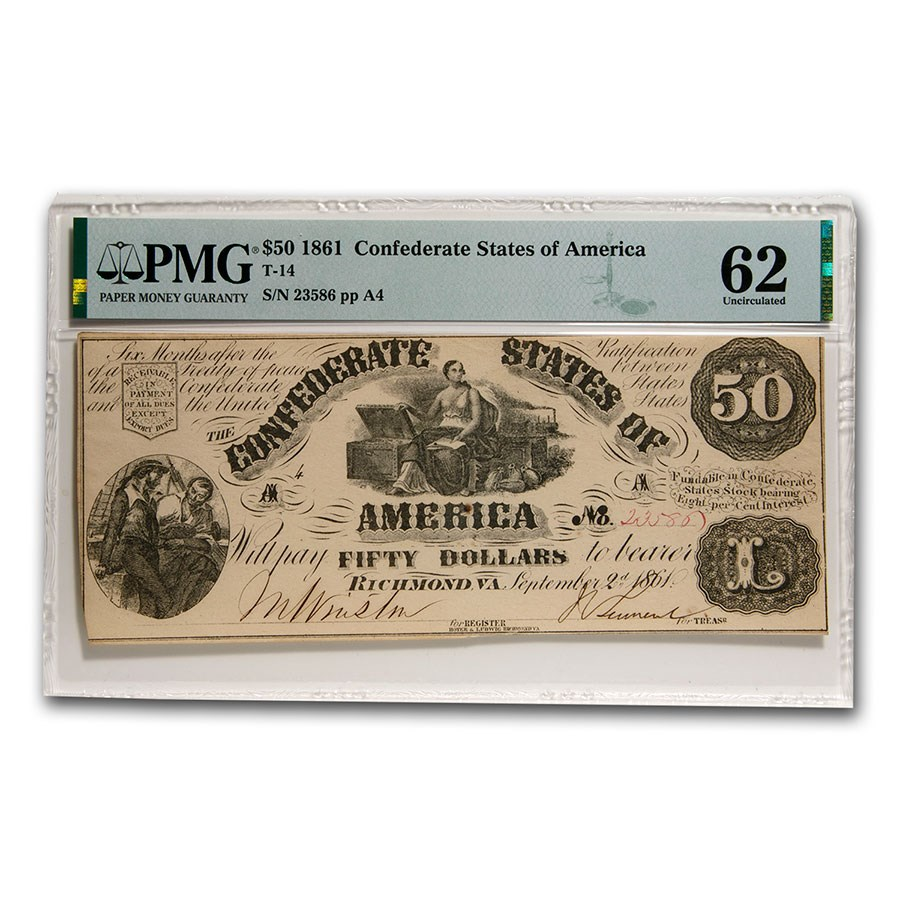 1861 $50 (T-14) Moneta & Treasure Chests CU-62 PMG