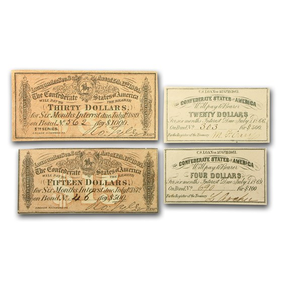 1861-64 CSA Bond Coupons AU+ (Value & Date of our choice)