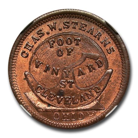 1861-65 Chas. W. Stearns Civil War Token MS-65 NGC (RB F-1750-1a)