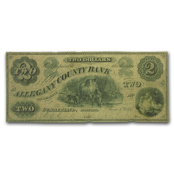 1861 Allegany Co. Bank of Cumberland, MD $2.00 VG