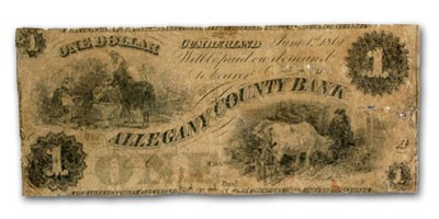 1861 Allegany County Bank of Cumberland,MD $1.00 MD-155 Good