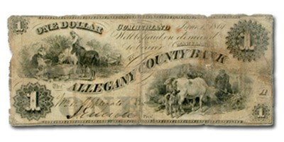 1861 Allegany County Bank of Cumberland,MD $1.00 MD-155 VG