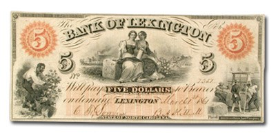 1861 Bank of Lexington, NC $5, NC-30, VF