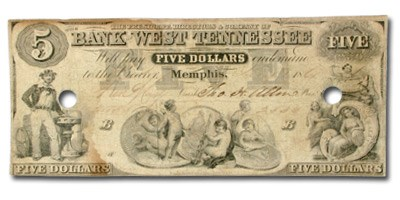 1861 Bank of West Tennessee @Memphis, $5.00 Note TN-130 VF
