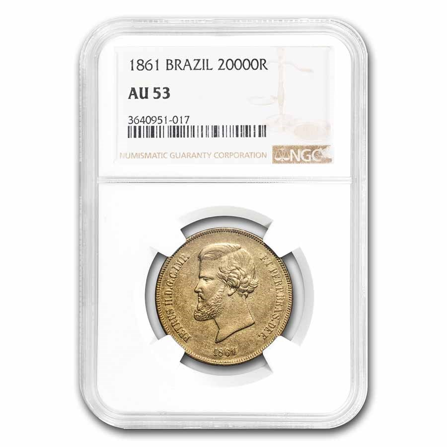 1861 Brazil Gold 20,000 Reis Pedro II AU-53 NGC