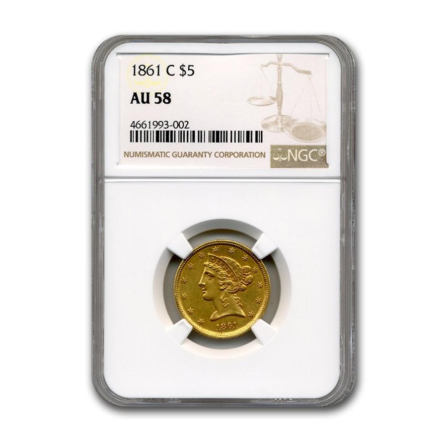 1861-C $5 Liberty Gold Half Eagle AU-58 NGC