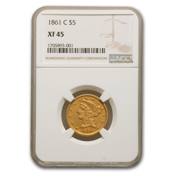 1861-C $5 Liberty Gold Half Eagle XF-45 NGC