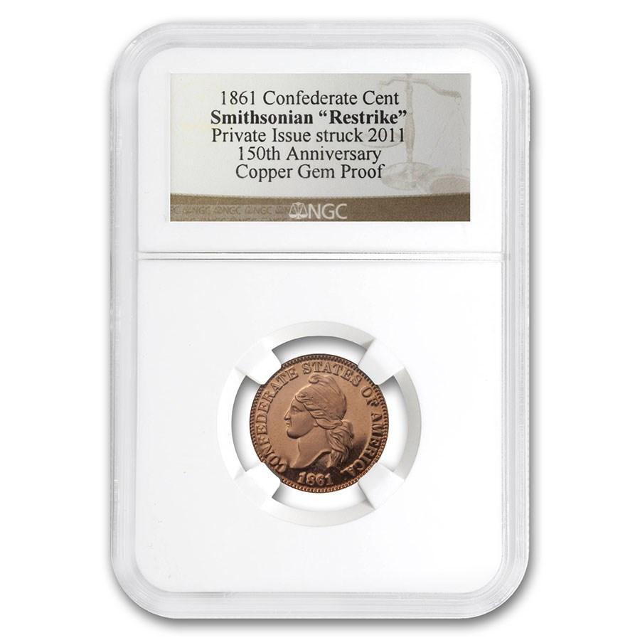1861 Confederate Cent 2nd Restrike Gem Proof NGC