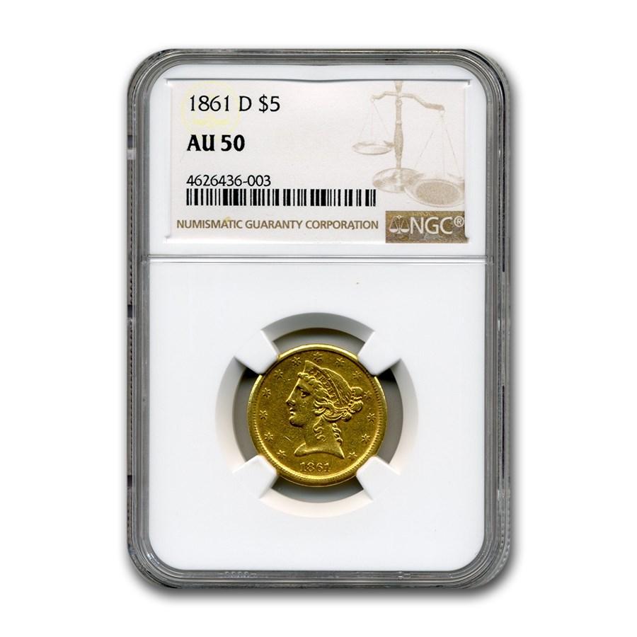 1861-D $5 Liberty Gold Half Eagle AU-50 NGC