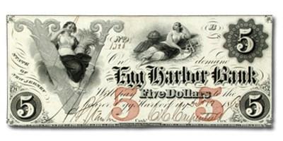 1861 Egg Harbor Bank, NJ $5.00 Note NJ-115 AU
