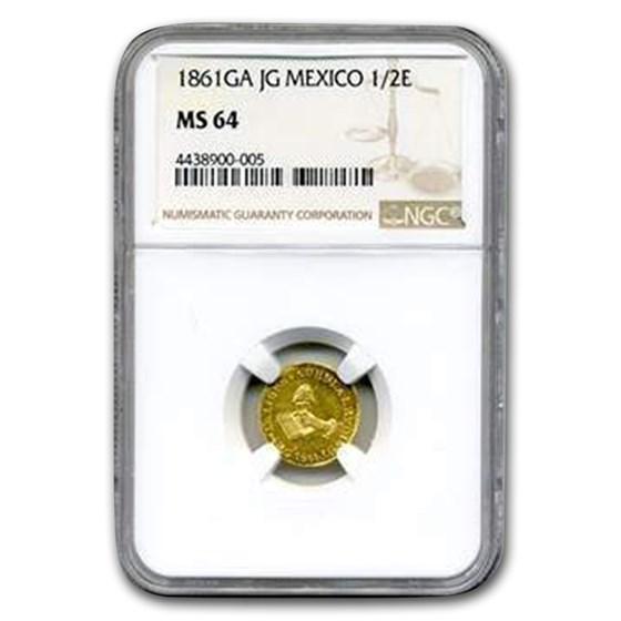 1861 Ga-JG Mexico Gold 1/2 Escudo MS-64 NGC
