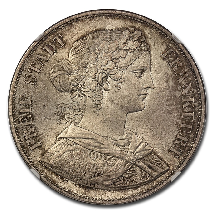 1861 German States Frankfurt am Main Silver 2 Thaler MS-65 NGC