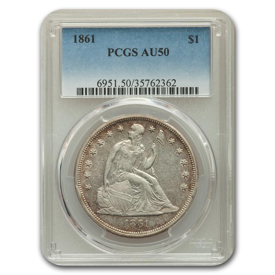 1861 Liberty Seated Dollar AU-50 PCGS
