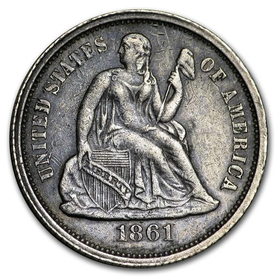 1861 Liberty Seated Half Dime AU
